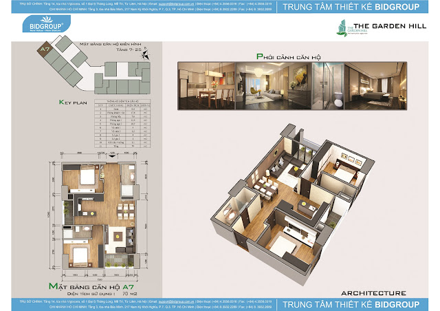 Căn hộ A7 tầng 7-25, diện tích 70m2