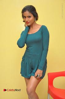 Telugu Actress Prasanthi Stills in Green Short Dress at Swachh Hyderabad Cricket Press Meet  0026.JPG