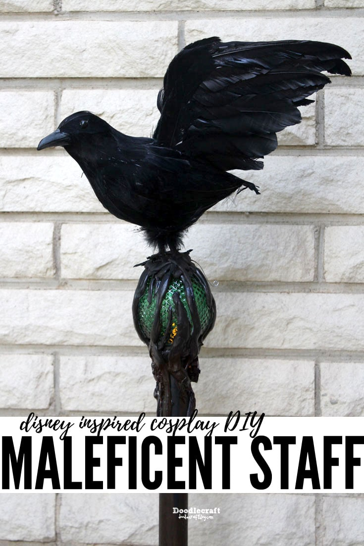 Dinsey Inspired Sleeping Beauty Maleficent Movie Costume Staff DIY with Diaval and light up orb!