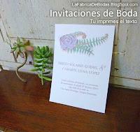Venta de invitacion-tarjeta para boda suculentas guatemala Boda shabby chic vintage lila verde boda bosque campestre