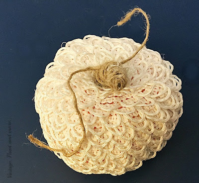Vintage, Paint and more... dollar store pumpkin made into a lacy vintage pumpkin by gluing buttonhole trim around it and wrapping the stem with twine