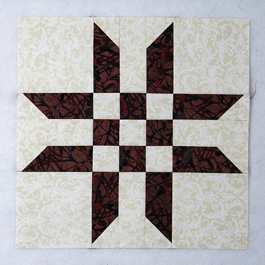Easy Ribbon Star Quilt Block designed by Elaine Huff of Fabric406