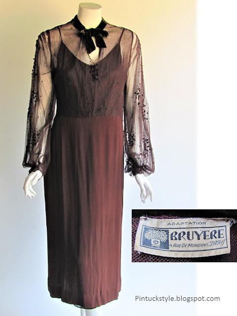 30s couture dress by Bruyere, Paris France