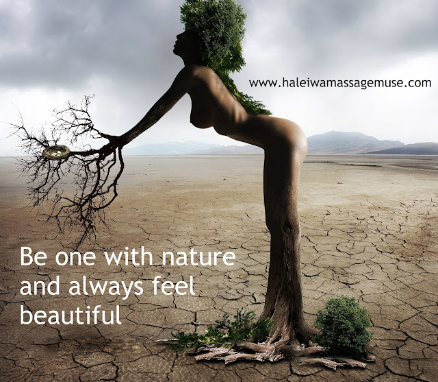 Beautiful woman grows like a tree out of the ground
