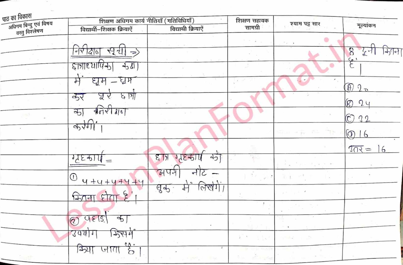 Maths Lesson Plan in Hindi for Class 1
