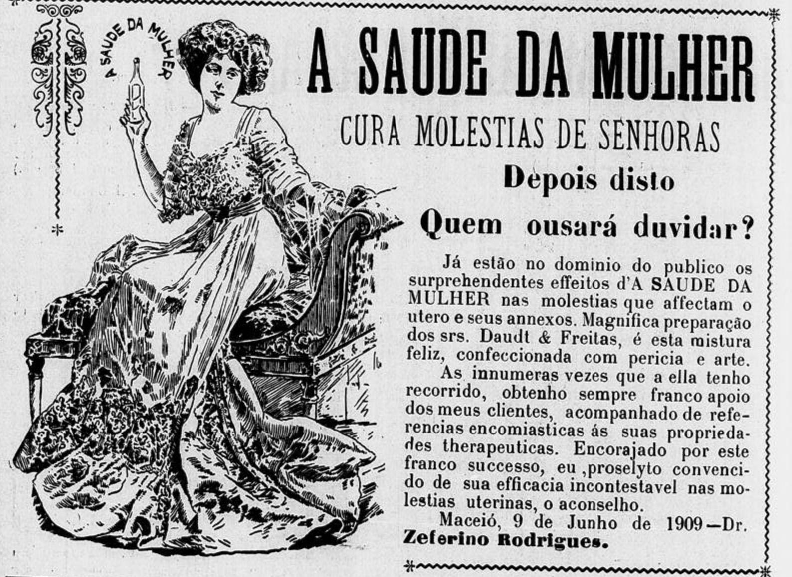 Propaganda antiga do medicamento Saúde da Mulher em 1909