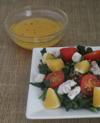 spinach, quinoa, oranges, tomato, candied walnuts, citrus vinaigrette