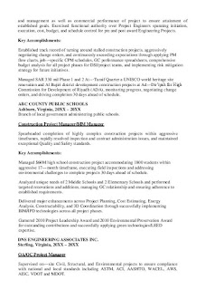 Construction Project Manager Resume Summary