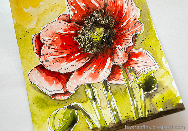 Layers of ink - Poppy Watercolor Tutorial by Anna-Karin Evaldsson. Splatter paint.