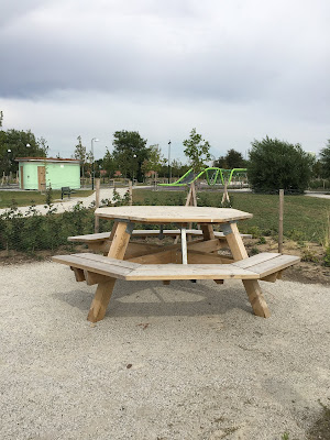 Elinegard picnic benches and climbing frame