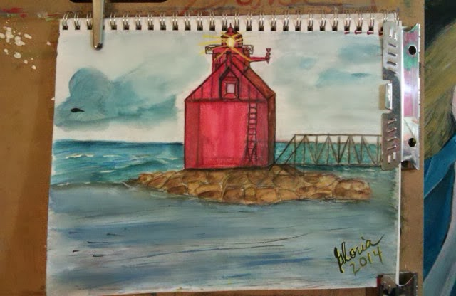 Sketch for lighthouse series ; mixed media,2014 by Gloria Poole of Missouri