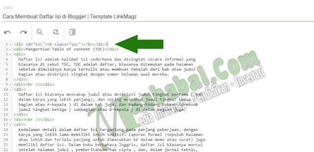 Tampilan Blogger Terbaru atau Tampilan Mode HTML pada Tampilan Blogger Terbaru menjadi seperti Gambar dibawah ini. Kemuadian Copy Kode TOC atau Kode Membuat Daftar isi di Blogger di atas