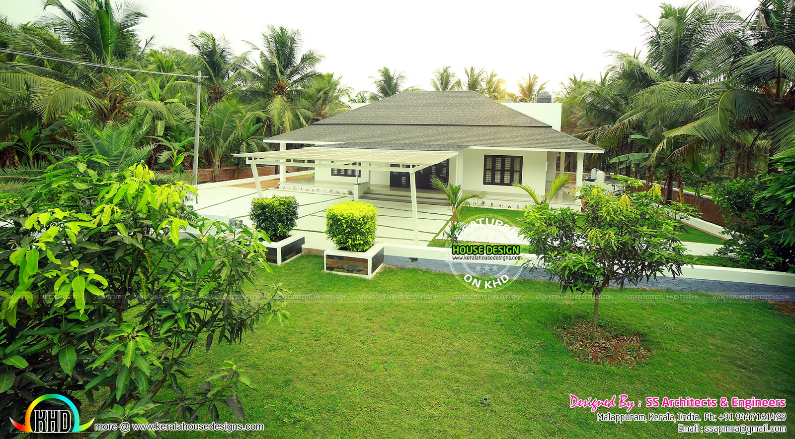 Full finished home with landscaping kerala home design for Garden design for home in india