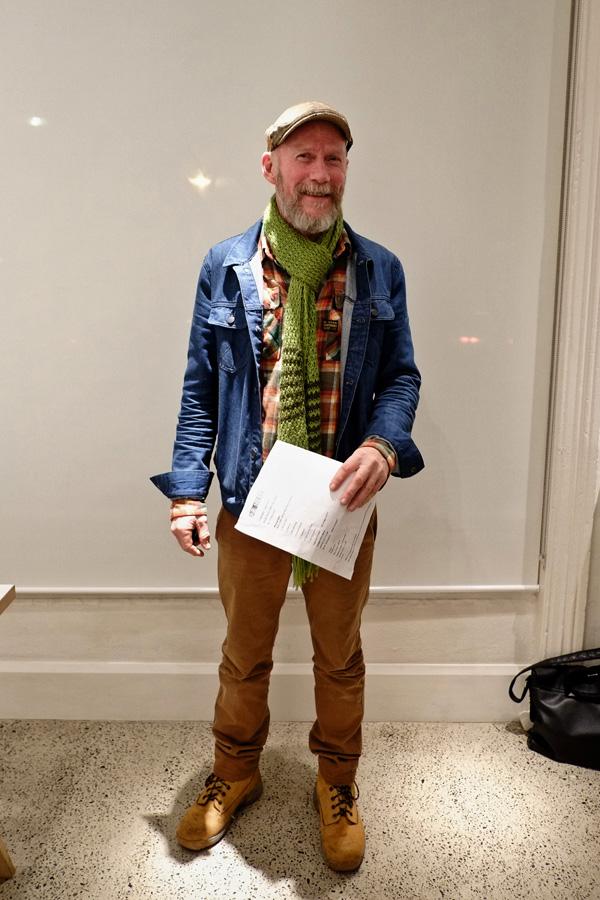 Men's style, all cotton winter, G-Star cowboy shirt, denim jacket green hand knit scarf, sports cap. Street Fashion Sydney - Photographed by Kent Johnson.