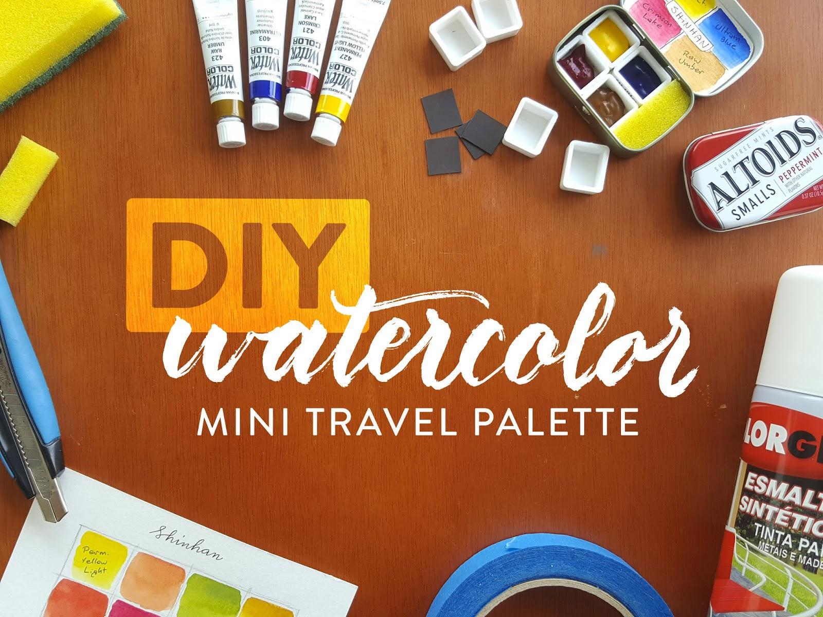 altoids tin metal case, half pans, watercolor tubes, painter's tape, enamel spray