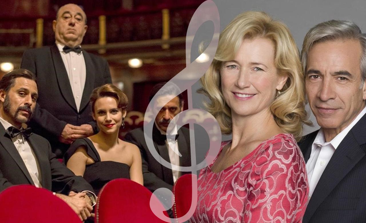 Imagen del reparto principal de 'El Ministerio del Tiempo' con Hitchcock y Ana Duato e Imanol Arias de 'Cuéntame'