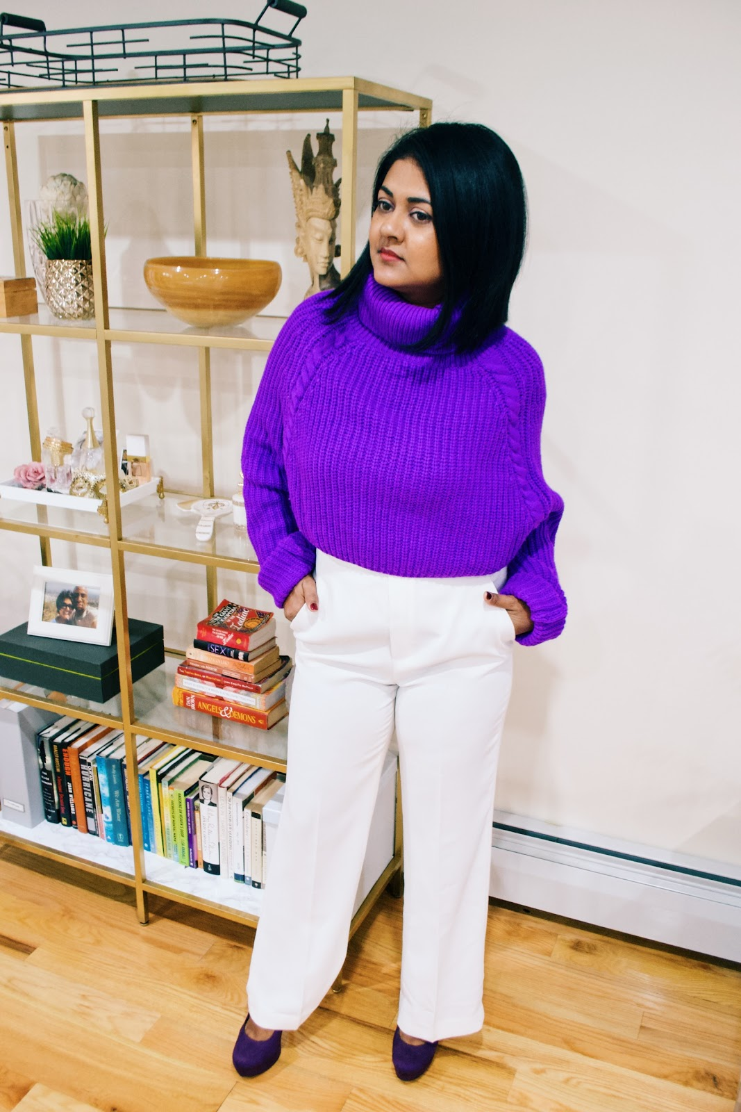 violet sweater how to wear violet