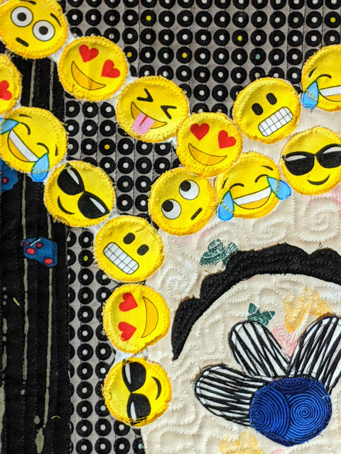 Circles of yellow emojis with a variety of expression including heart eyes, sunglasses, laughing until it cries.