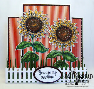 Our Daily Bread Designs, Be a Sunflower, Sunflower die, Fence die, Pierced Oval dies, Oval dies, Bitty Border dies, Grass dies, Fall Favorites Paper Collection, designed by Chris Olsen