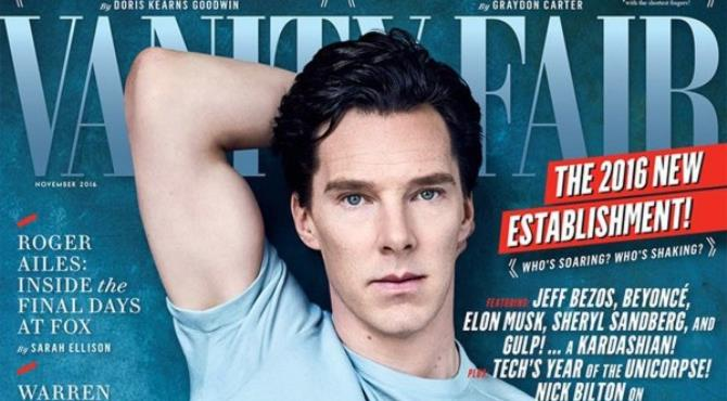 Going casual in a t-shirt and denim jeans, Benedict Cumberbatch shows off his bulging bicep on the cover of Vanity Fair's November 2016 issue.  Vanity Fair's November 2016 issue will be on newsstands October 11 or visit VanityFair.com for more exclusive gist.