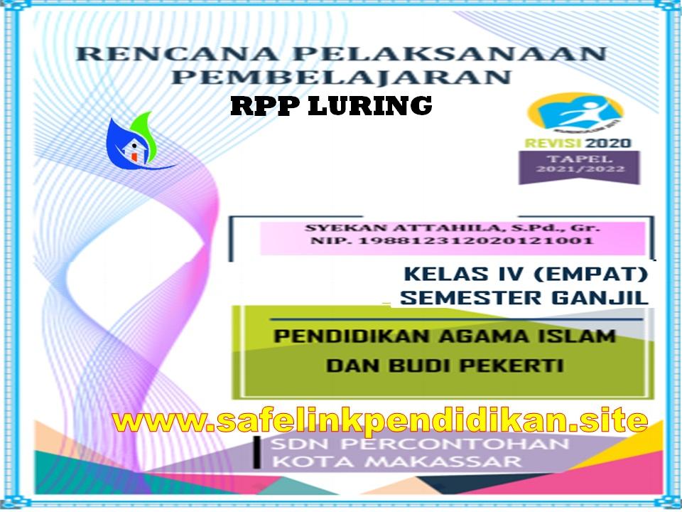 Contoh RPP Luring 1 Lembar PAI Dan BP Kelas 4