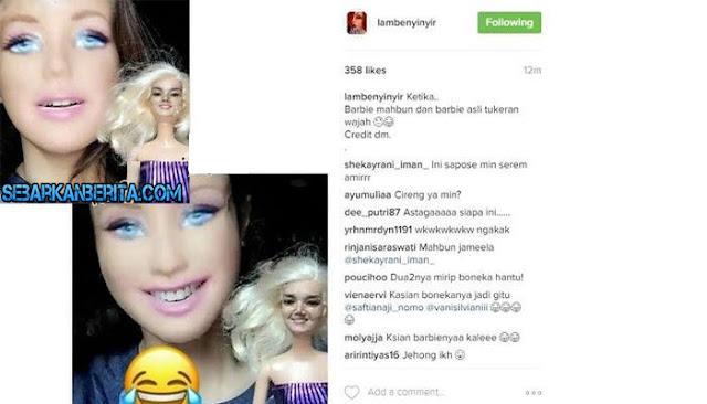 Wajah Mulan Jameela Diedit Jadi Wajah Barbie , Netizen Malah Ketakutan.