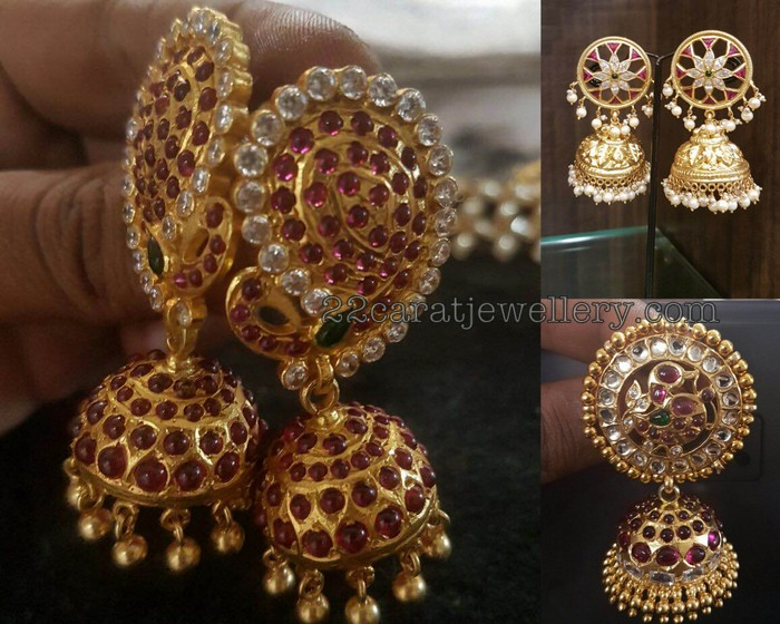 Heavy Kundan Jhumkas In Silver Jewellery Designs