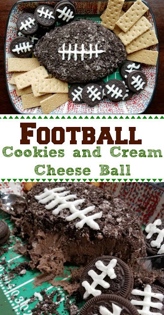This sweet cheese ball is the perfect game day dessert. It is full of chocolaty cookie and cream flavor and goes with a ton of fun dippers. Grab a bite and enjoy the big football game!