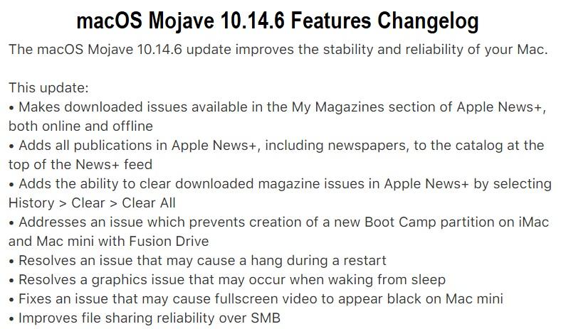 macOS Mojave 10.14.6 Changelog
