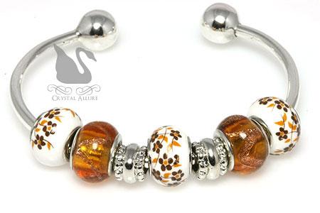 Add A Bead Topaz Charm Bangle Bracelet (B209-T)