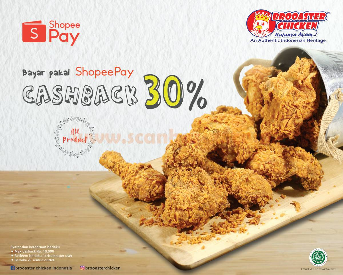Promo Brooaster Chicken Diskon Cashback 30% Bayar Pakai Shopeepay