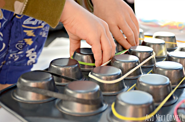 Use a muffin tin as a DIY geoboard to work on fine motor skills