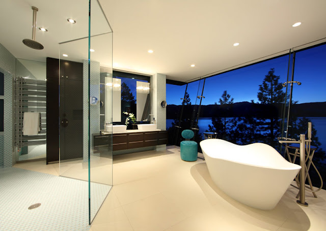 Master bath in Lake House
