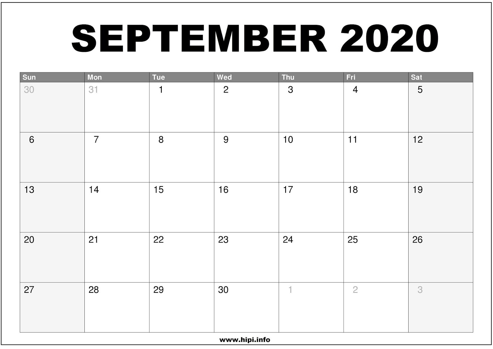 Calendar September 2020 Printable.Calendars Printable Twitter Headers Facebook Covers