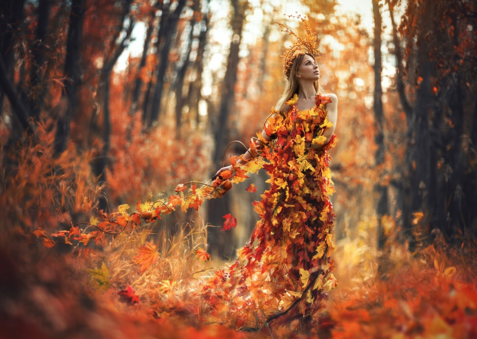 autumn spell, lady autumn, girl autumn, leaves, art