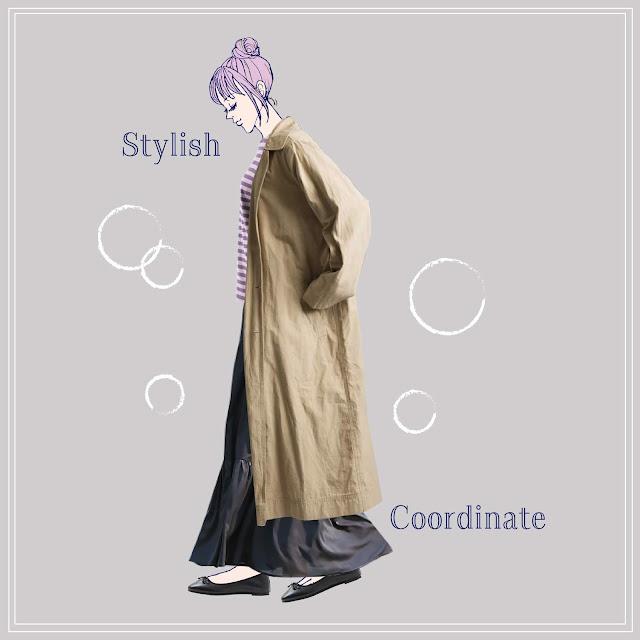 ステンカラーコートとティアードスカートのコーディネート