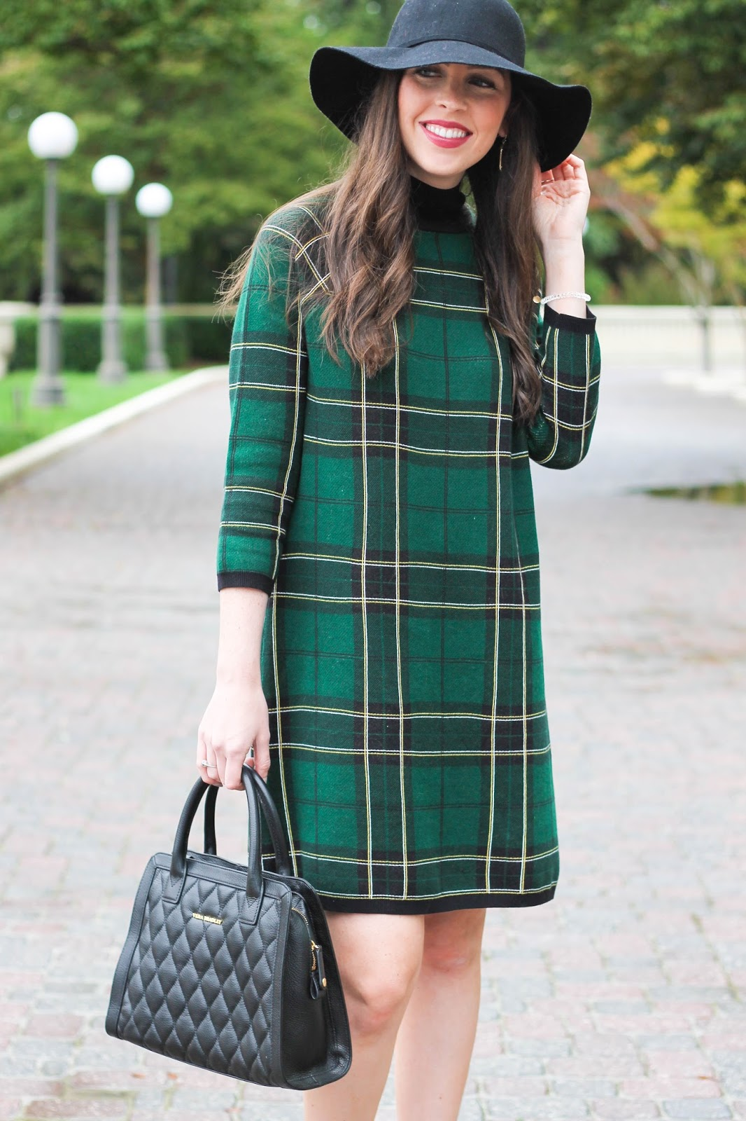 plaid sweater dress, fall outfit, fall style, asos plaid turtleneck dress, dark green dress, tan suede booties, sole society, ASOS, Vera Bradley, quilted leather satchel, black floppy hat, winter outfit, trends for fall, fashion blogger, raleigh, north carolina blogger