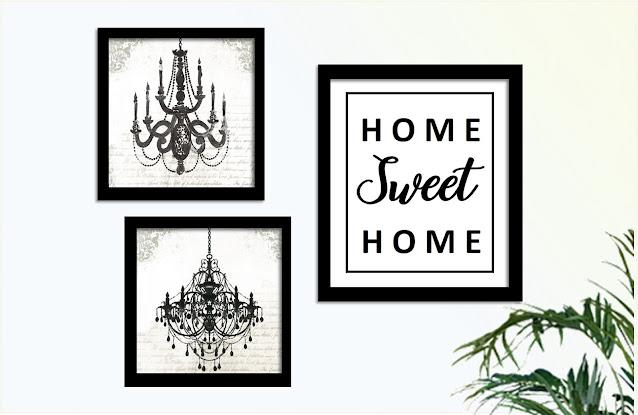 Composição de quadros para entrada com estampa de lustres e home sweet home