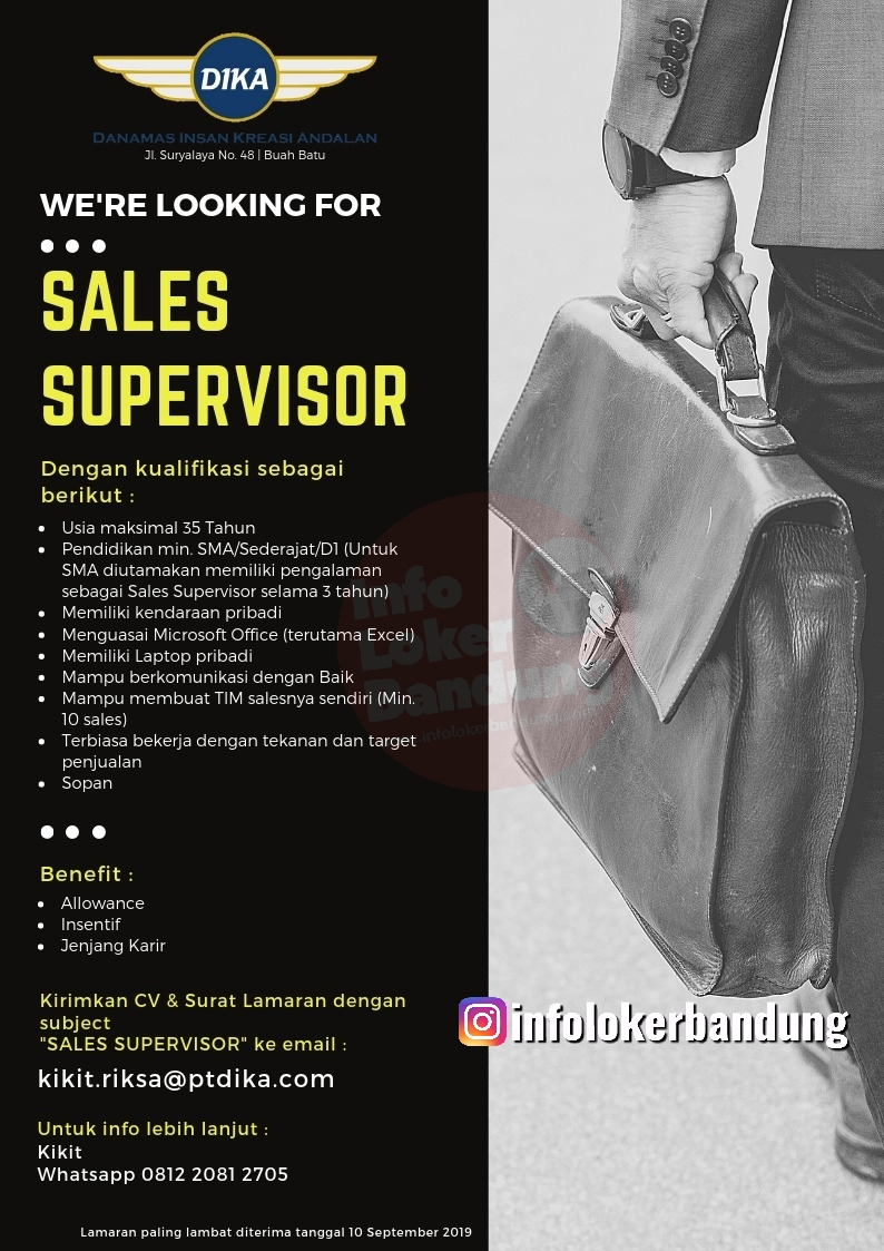 Lowongan Kerja Sales Supervisoer PT. Danamas Insan Kreasi Andalan Bandung September 2019