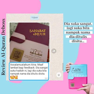 review testimoni deboss tulis nama cover al quran