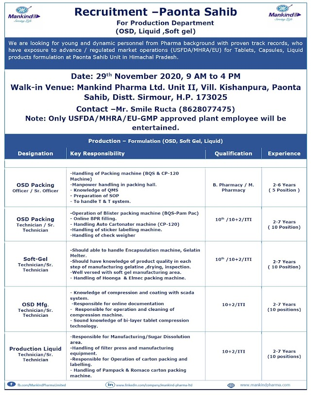 Mankind Pharma | Walk-in interview for Production/Packing on 29 Nov 2020