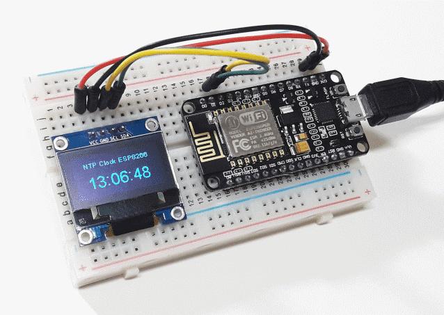 Relógio com NodeMCU ESP8266 e display oled usando NTP
