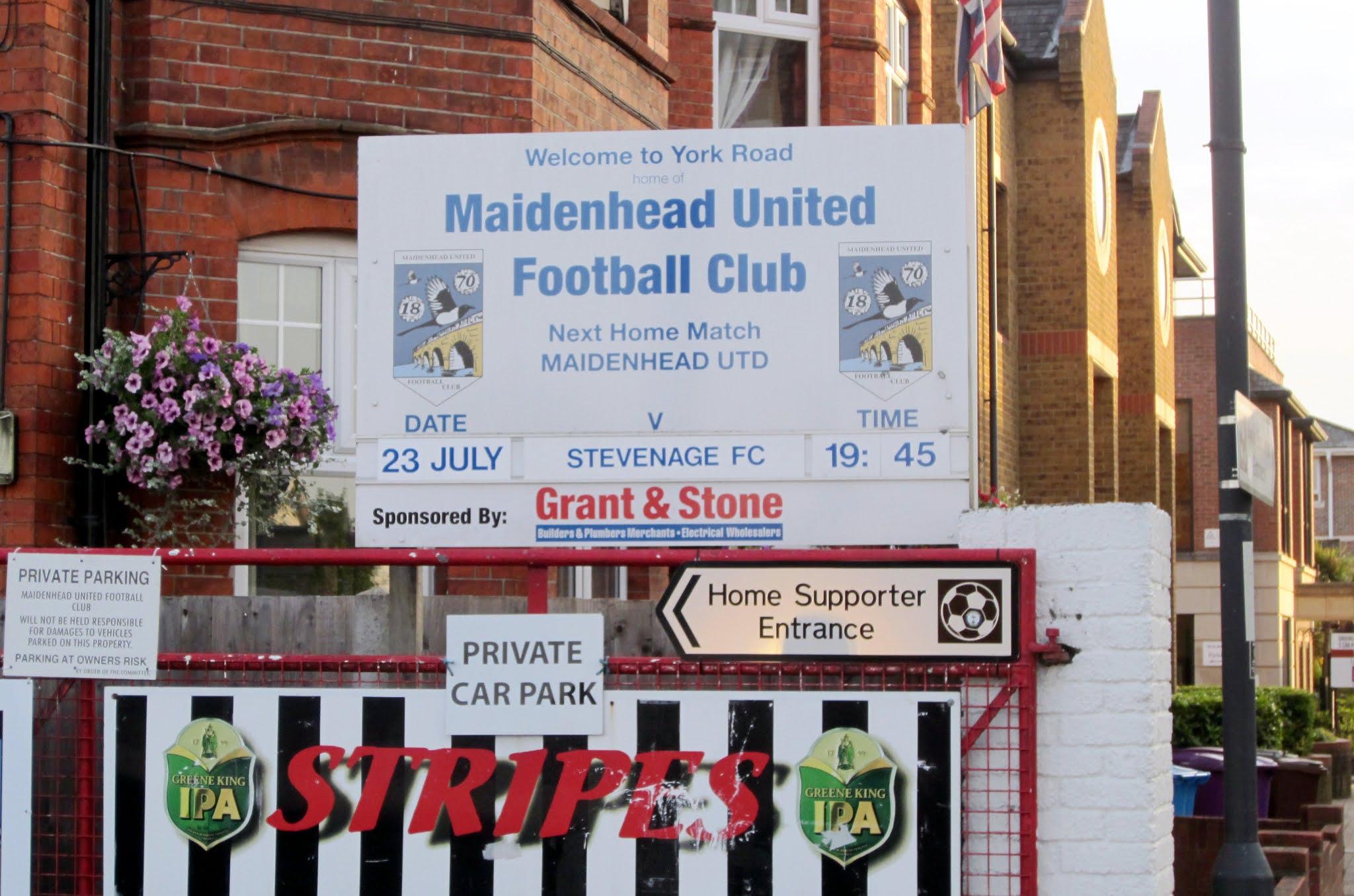 Sign outside the York Road football stadium
