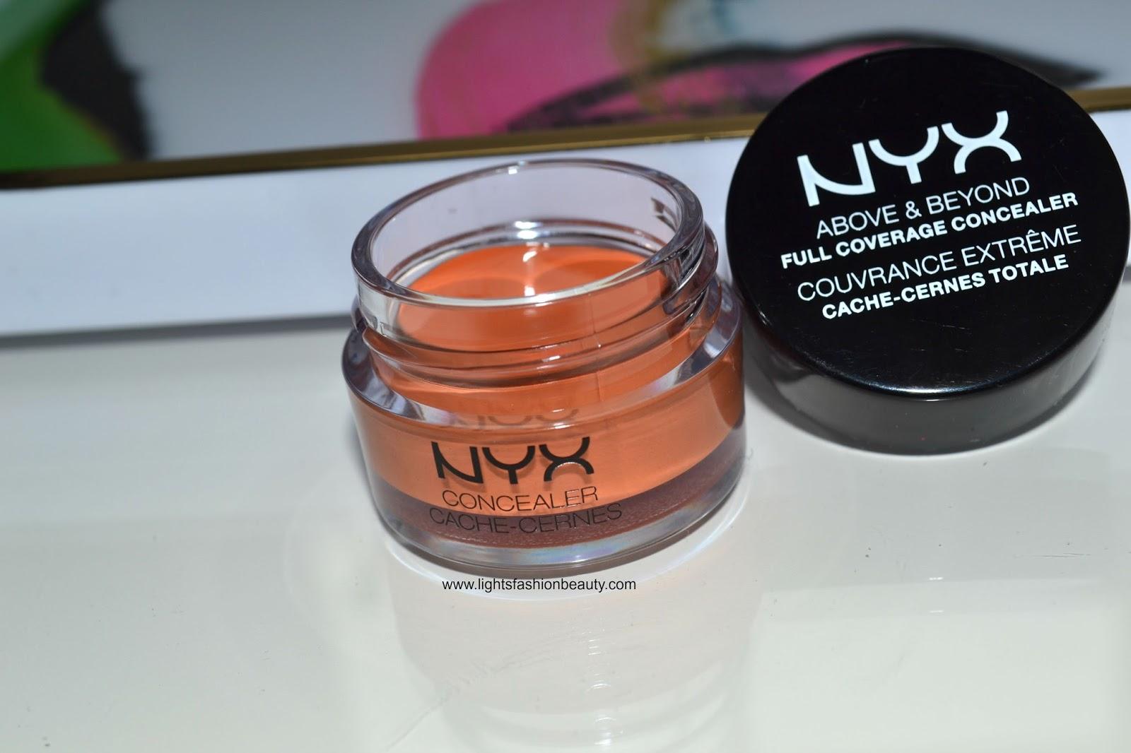 NYX cosmetics Above & Beyond Full Coverage Concealer, drugstore orange concealer, lightsfashionbeauty, drugstore makeup