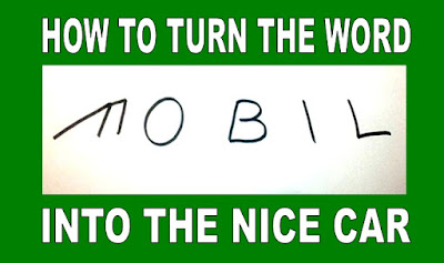 Cara menggambar Mobil dengan Tulisan MOBIL