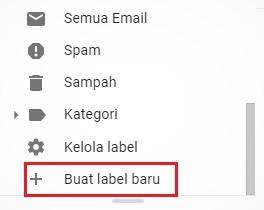 tombol untuk buat label baru