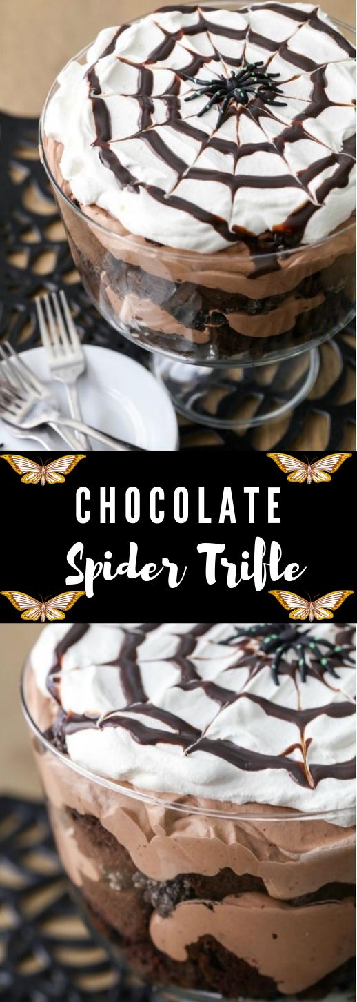 CHOCOLATE SPIDER TRIFLE #chocolate #desserts #cakes #yummy #pumpkin