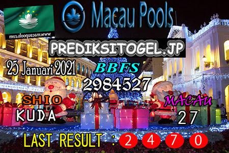 Prediksi Togel Wangsit Macau Pools Senin 25 Januari 2021