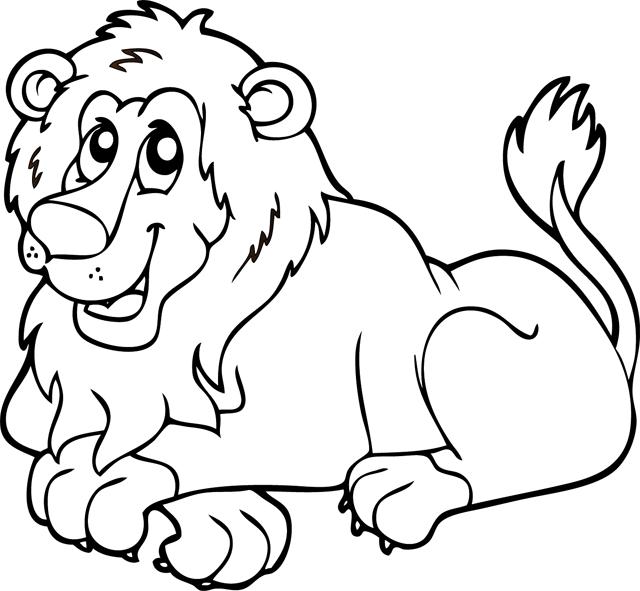 رسومات حيوانات للتلوين اسد للتلوين