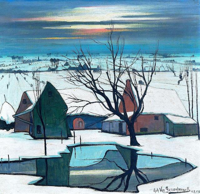 an Achiel Van Sassenbrouck painting, a 1932 winter landscape with pond